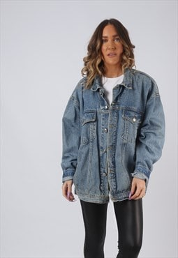 Denim Jacket Oversized Fitted Vintage UK 20 - 22  (W3T)