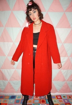Vintage 80s Red Wool Coat