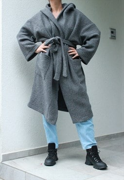 Oversize Grey Wool Cardigan, Hooded Cardigan, Loose and Maxi