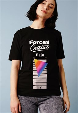 Taped over 80s retro vhs black t-shirt with front print
