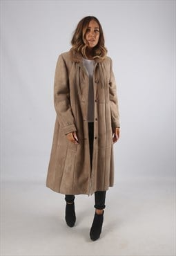 Vintage Sheepskin Suede Shearling Coat Long UK 14 (9BT)