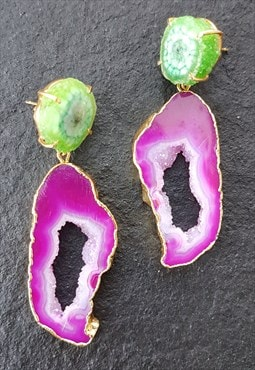 Green Magenta Crystal Statement Earrings