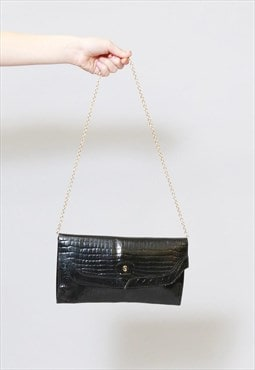 Vintage 1970's Black Moc Croc Shoulder Chain Bag