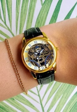 Traditional Black Skeleton Style Watch