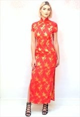 1990s vintage red and gold Chinese thigh slit maxii dress