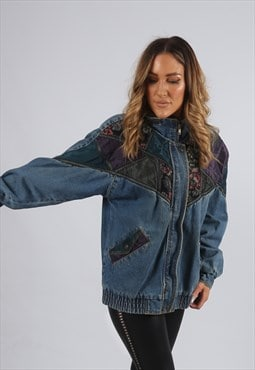 Vintage Denim Bomber Jacket Patterned Floral UK 10 S (X5V)