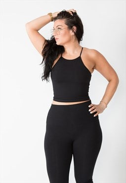 Eka Racer Crop Top in Black