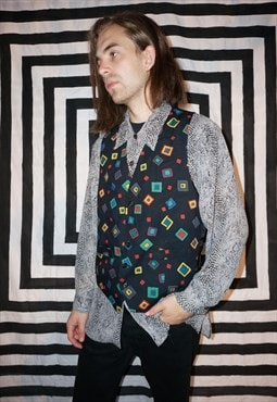Vintage 80's Coloured Square Pattern Waistcoat