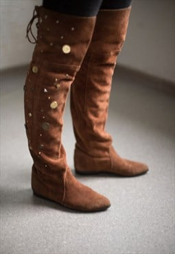 Vintage 80's Brown Suede Metal Details Decorated Boots