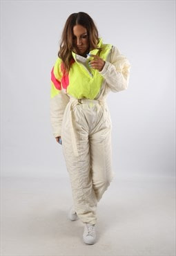 Vintage RODEO Full Ski Suit Snow Sports Neon UK 12  (94O)