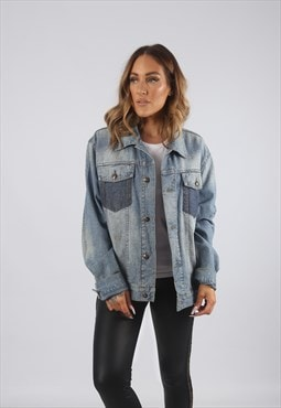 Vintage Denim Jacket Oversized Fitted UK 14 - 16 (J9AL)