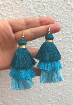 Blue shade tassels earring