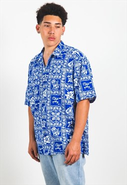 Vintage 80s Hawaiian Short Sleeve Shirt / S3189