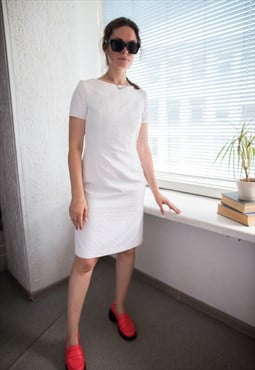 Vintage 70's White Textured Midi Short Sleeved Dress