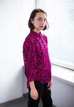 Vintage 80's Magenta Patterned Blouse