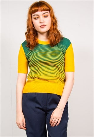 VINTAGE 70'S GREEN & YELLOW STRIPED KNIT RIBBED TOP
