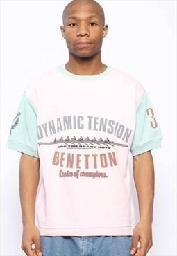 Vintage Benetton Spellout Short Sleeve Sweatshirt Pink