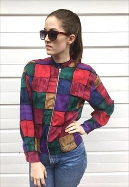 Womens Vintage 80s abstract patterned zip up jacket top