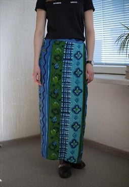 Vintage 90's Maxi Blue Patterned Wrap Skirt