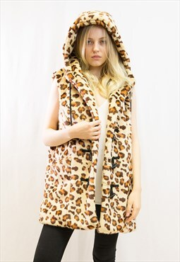 Animal leopard print faxu fur oversized gilet coat