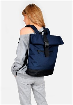 Navy blue Roll top laptop backpack