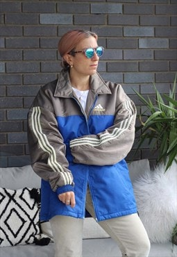 Vintage 1990s Adidas blue grey and lemon padded jacket