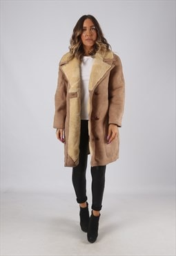Suede Leather Sheepskin Shearling Coat Short UK 14  (KDR)