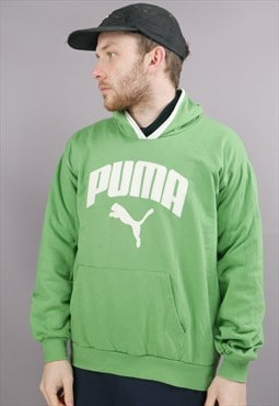 Vintage Puma Hoodie In Green With Logo