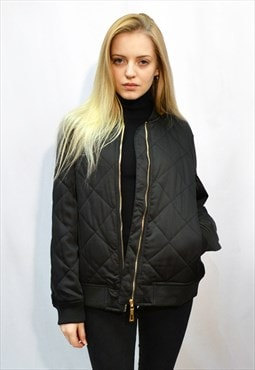 Quilted Satin Black Puffer Bomber puffer Jacket in Black