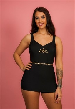 50s style vintage black & gold embroidered Roxanne swimsuit