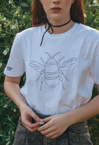 ORGANIC UNISEX T-SHIRT IN WHITE WITH SUNFLOWER EMBROIDERY