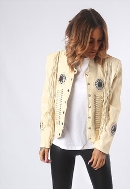 Leather Tassel Biker Jacket Vintage Beaded UK 12  (EQ1A)