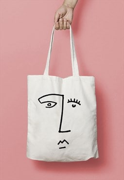 Face Line Drawing Print Cotton Tote Bag Shopper Black White
