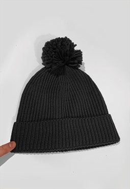 Ski Bobble Knitted Ribbed Beanie Hat - Black