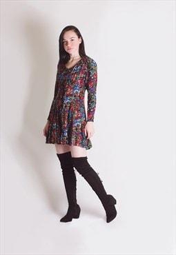 Vintage 90's Floral Long Sleeved Dress