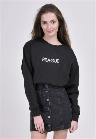 SALE - BLACK PRAGUE SWEATSHIRT - EMBROIDERED