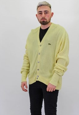 Vintage Lacoste Cardigan Sweater Jumper in Yellow Large