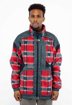 Vintage Fila Fleece Red Checkers Fabric