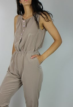 Vintage Jumpsuit in Mink w Satin Feel
