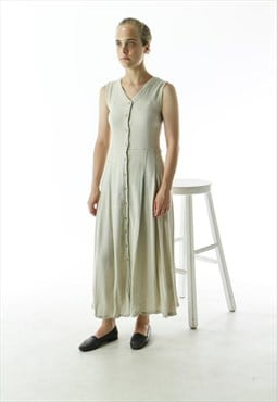 Sleeveless Linen Like Dress / Retro Button Up Dress