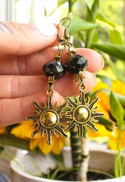Handmade Gold Sun Earrings