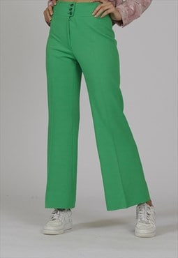RARE vintage 70's high waisted apple green flared trousers