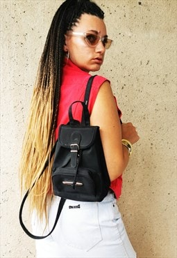 Vintage 90's Grunge black small mini backpack