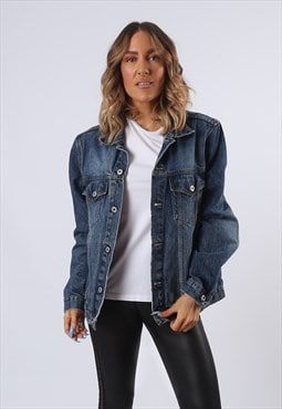 Denim Jacket KNOCKOUT Oversized Fitted UK 16 (G61B)