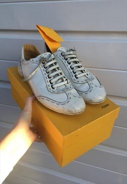 Womens Vintage Fendi trainers white leather shoes pumps