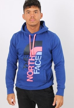 Vintage The North Face Large Printed Blue Hoodie