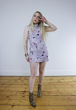 Vintage 60's Pink Psychedelic Paisley Mini Dress