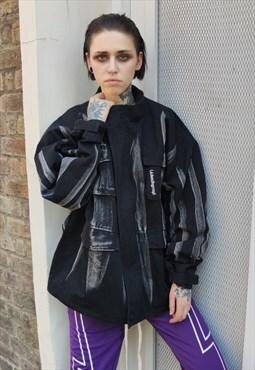 Loose fit cargo pock denim jacket graffiti print jean coat