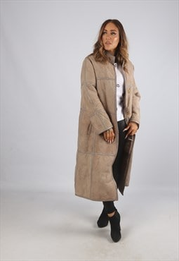 Vintage Sheepskin Suede Shearling Coat Long UK 12 (9BD)