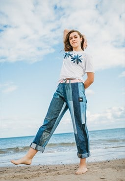 Jeans in Upcycled Panelled Denim